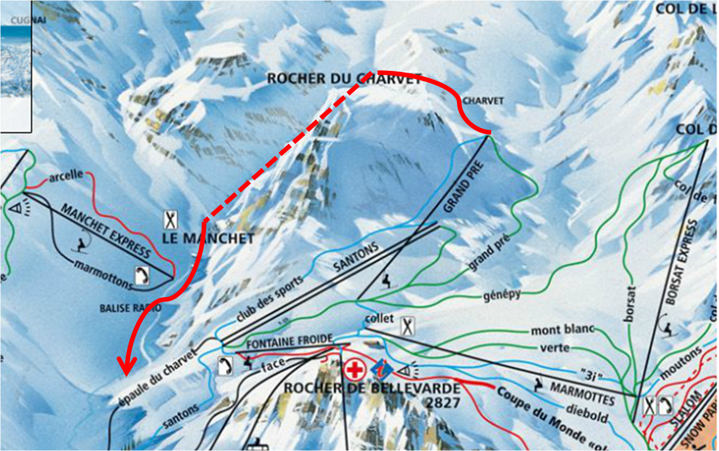 Tignes piste map FreeFlo Ski Instruction