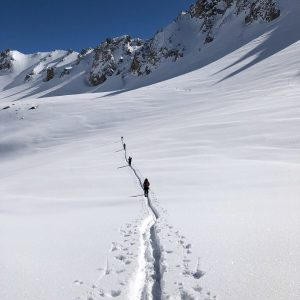 Breaking trail back to Tignes