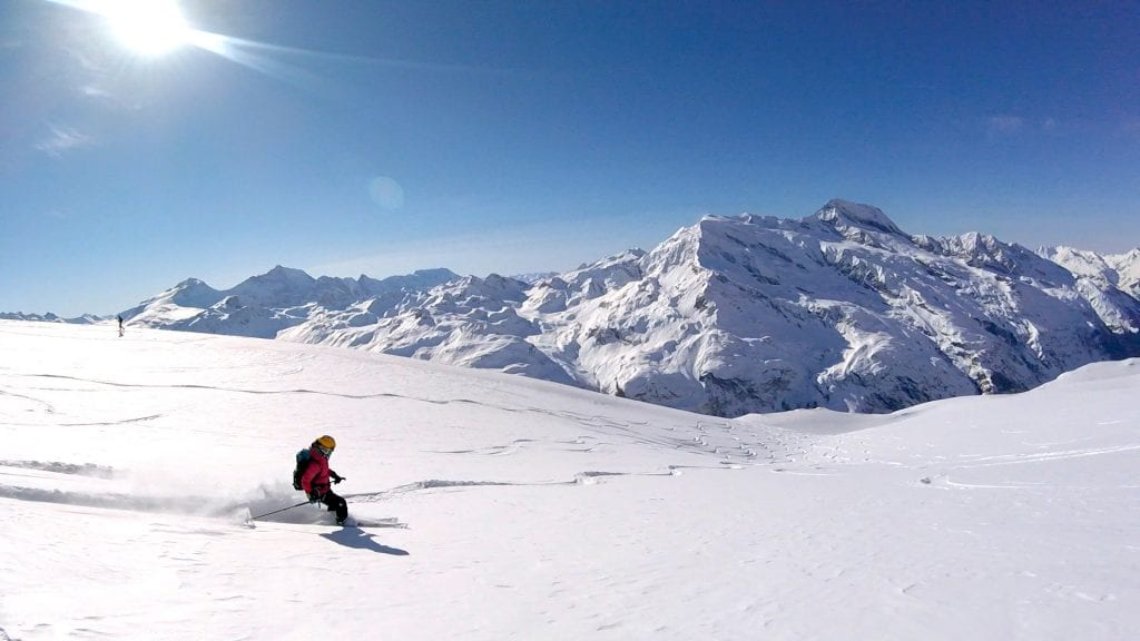 Powder Skiing Of La Rocher De La Davies, Tignes area